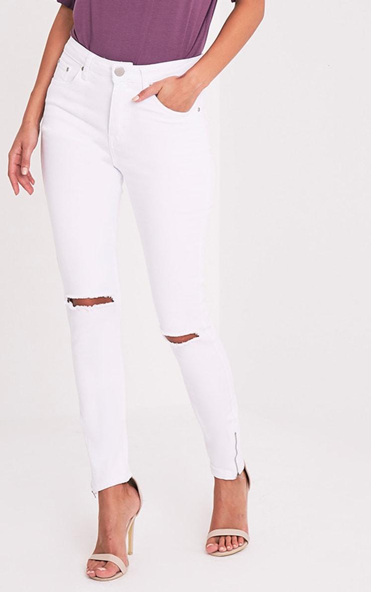 White Knee Rip 5 Pocket High Waisted Skinny Jean 2