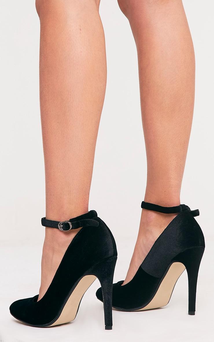 Demmi Black Velvet Strap Court Shoes 3