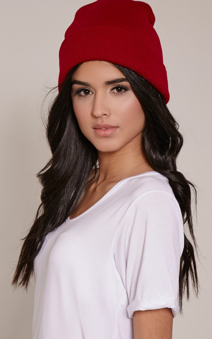 Billi Red Plain Beanie Hat 1