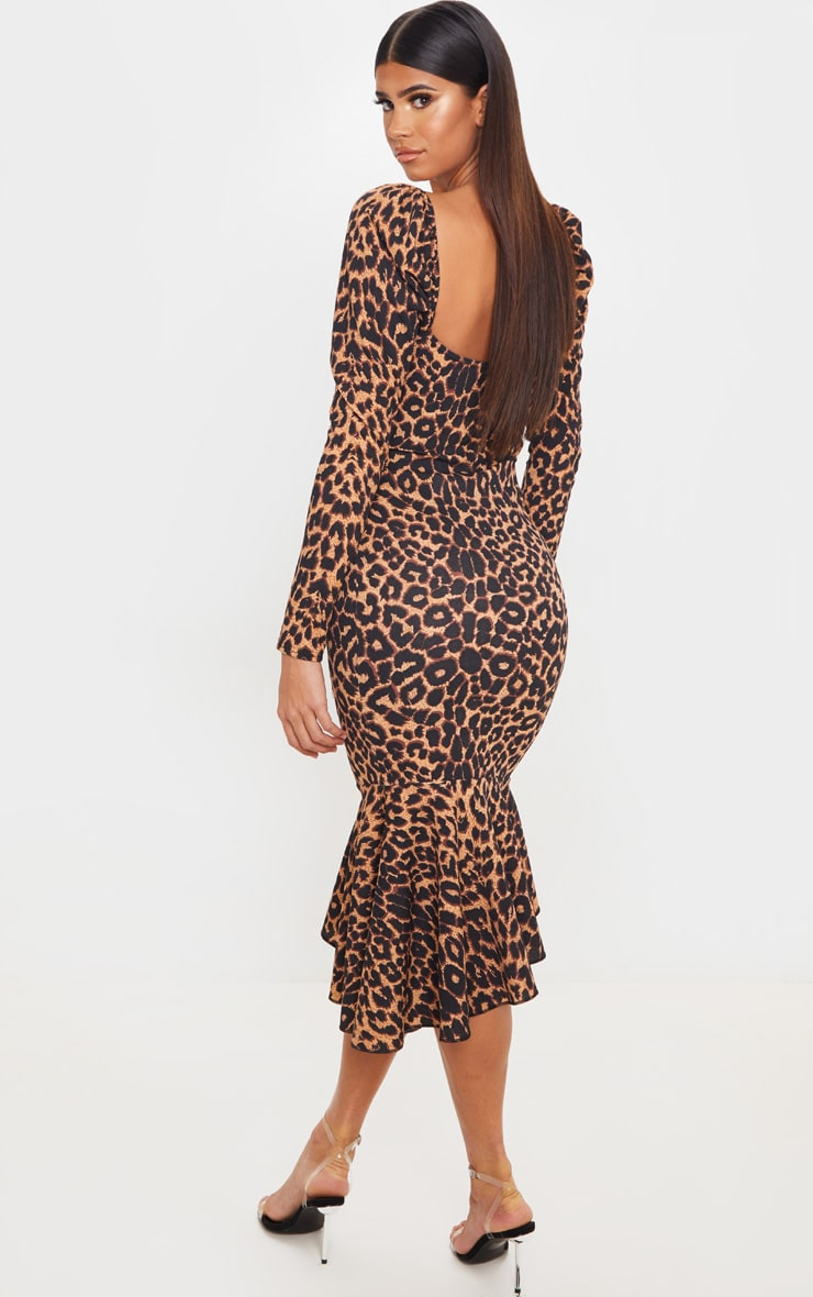 Tan Leopard Print Square Neck Frill Hem Midi Dress 2