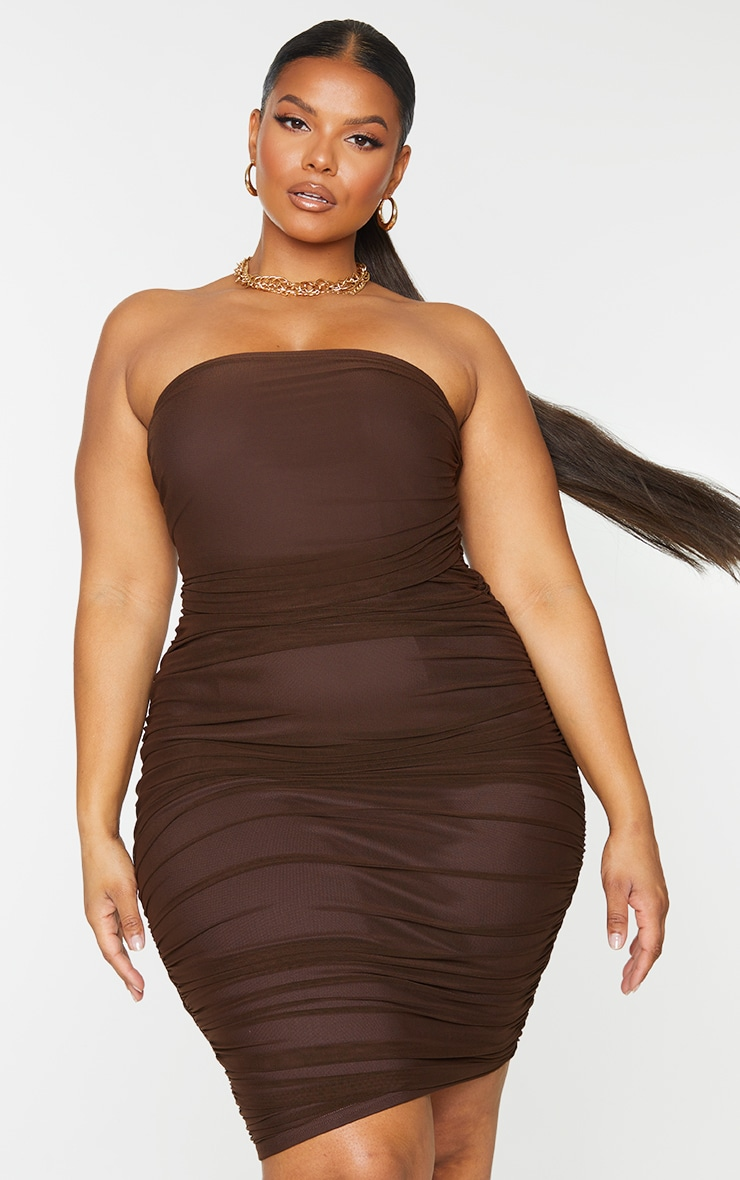 Plus Chocolate Layered Mesh Ruched Strapless Bodycon Dress 3