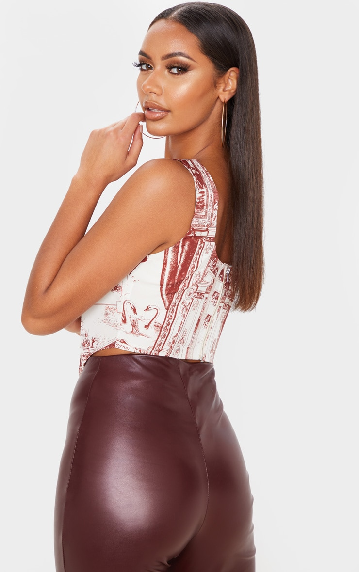 Red Renaissance Print Satin Curved Hem Cropped Corset Top 2