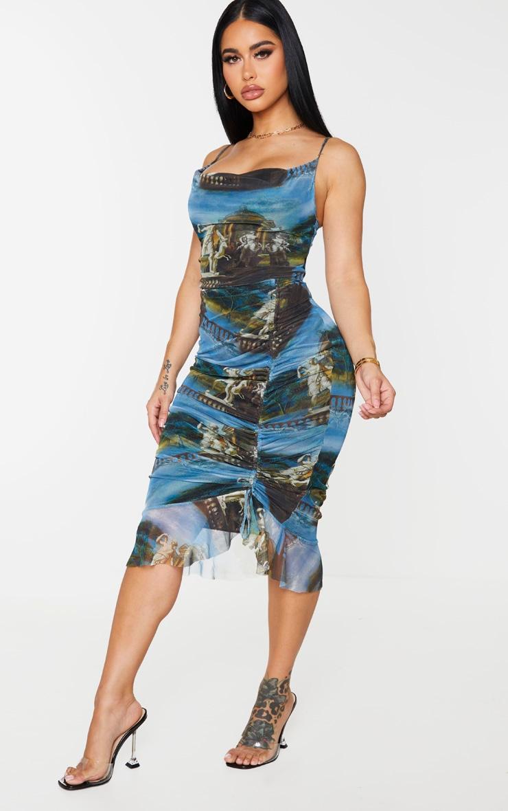 Shape Blue Renaissance Print Mesh Cowl Ruched Midi Dress 3