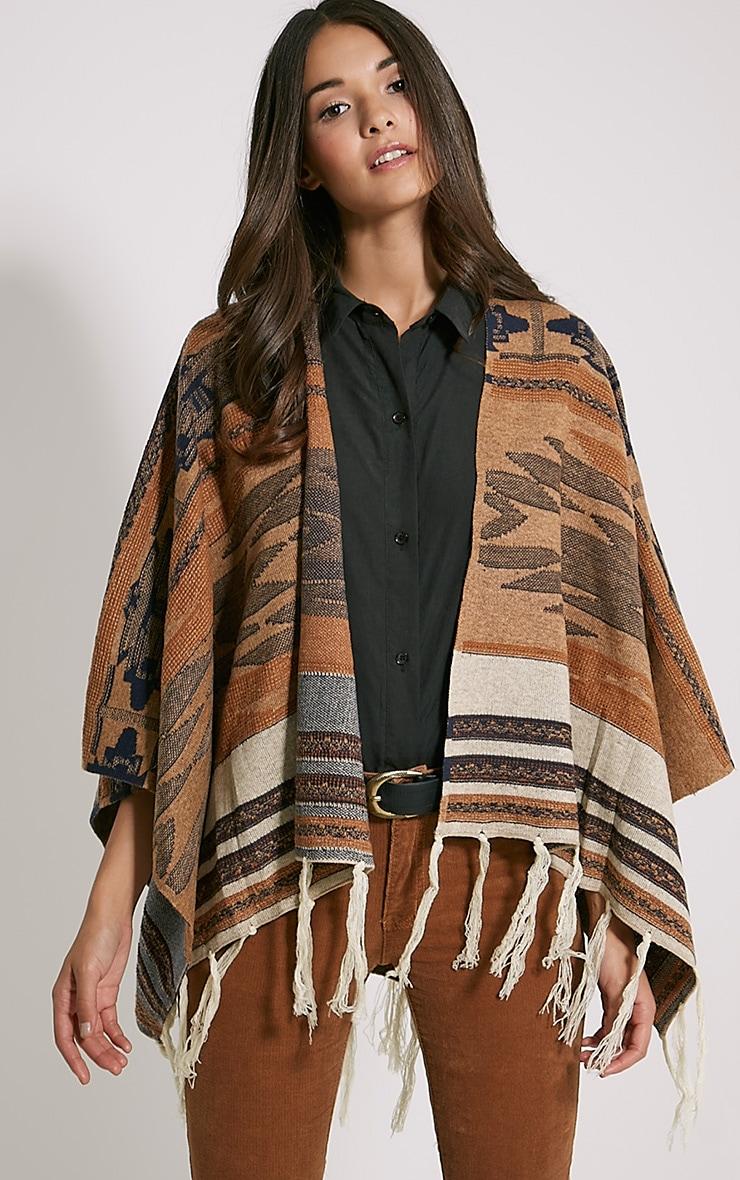 Deni Beige Tribal Knitted Tassel Poncho 1