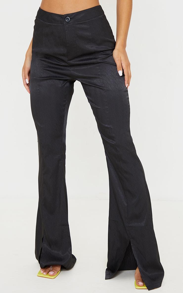 Black Woven Split Hem Flared Pants 2