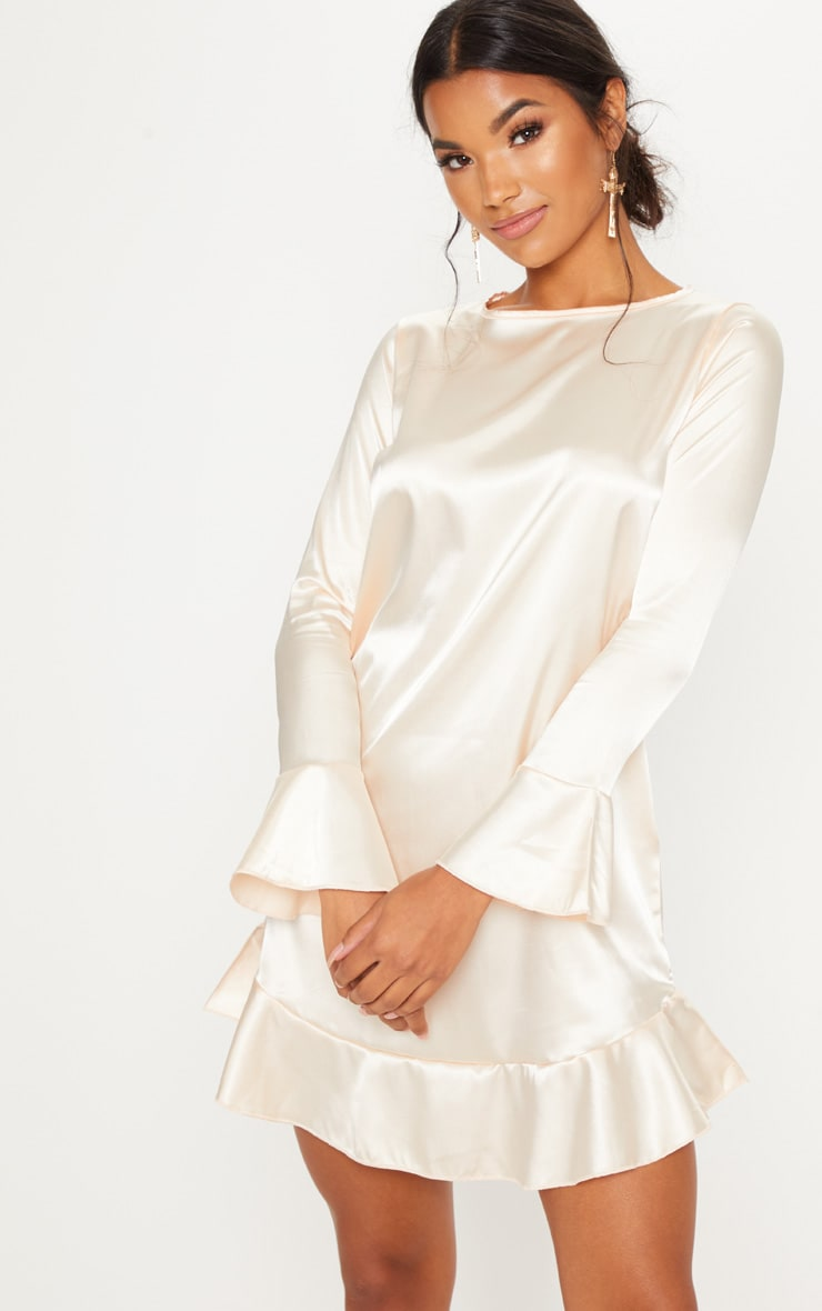 Nude Satin Frill Hem Shift Dress