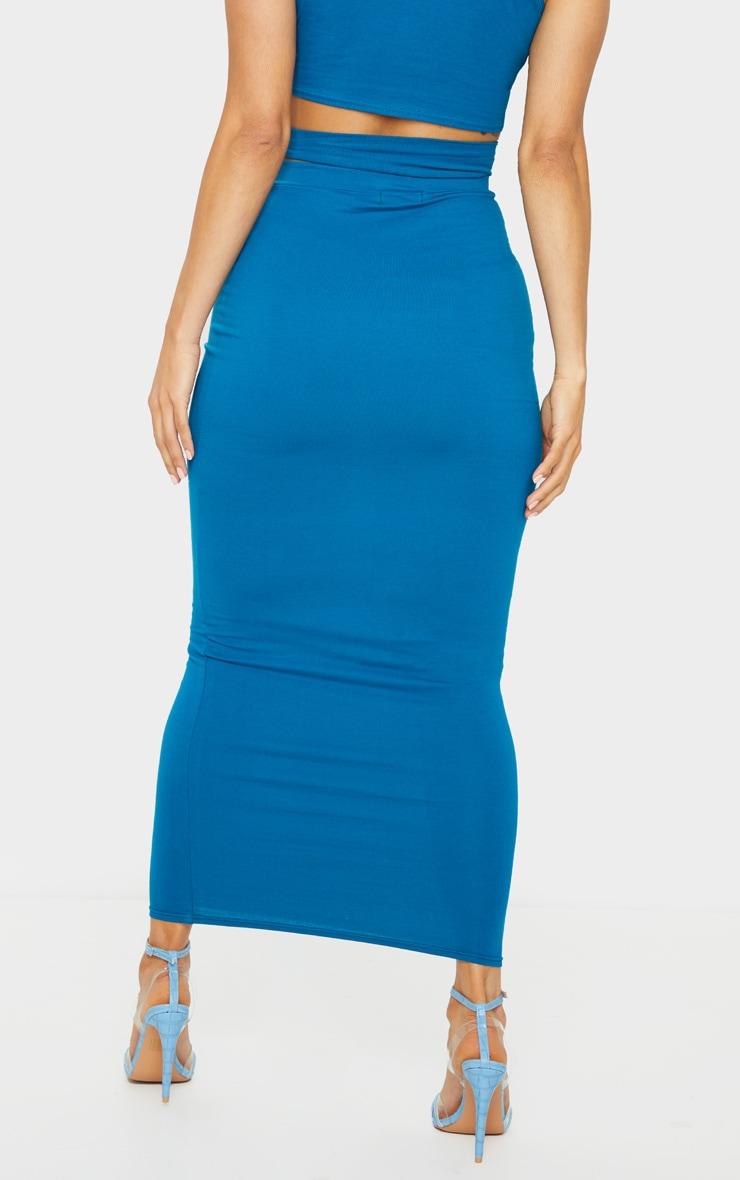 Teal Cotton Cut Out Waist Midaxi Skirt 3