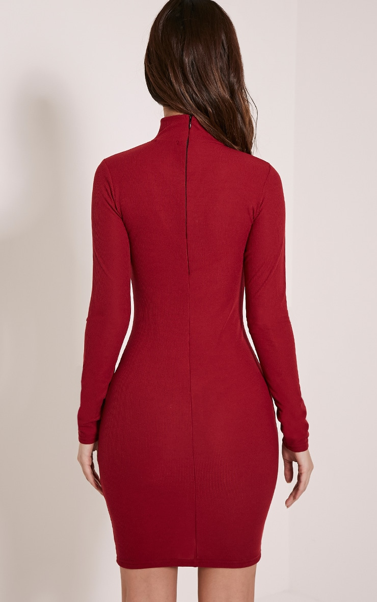 Marlene Burgundy Circle Zip Detail Ribbed Bodycon Dress 2