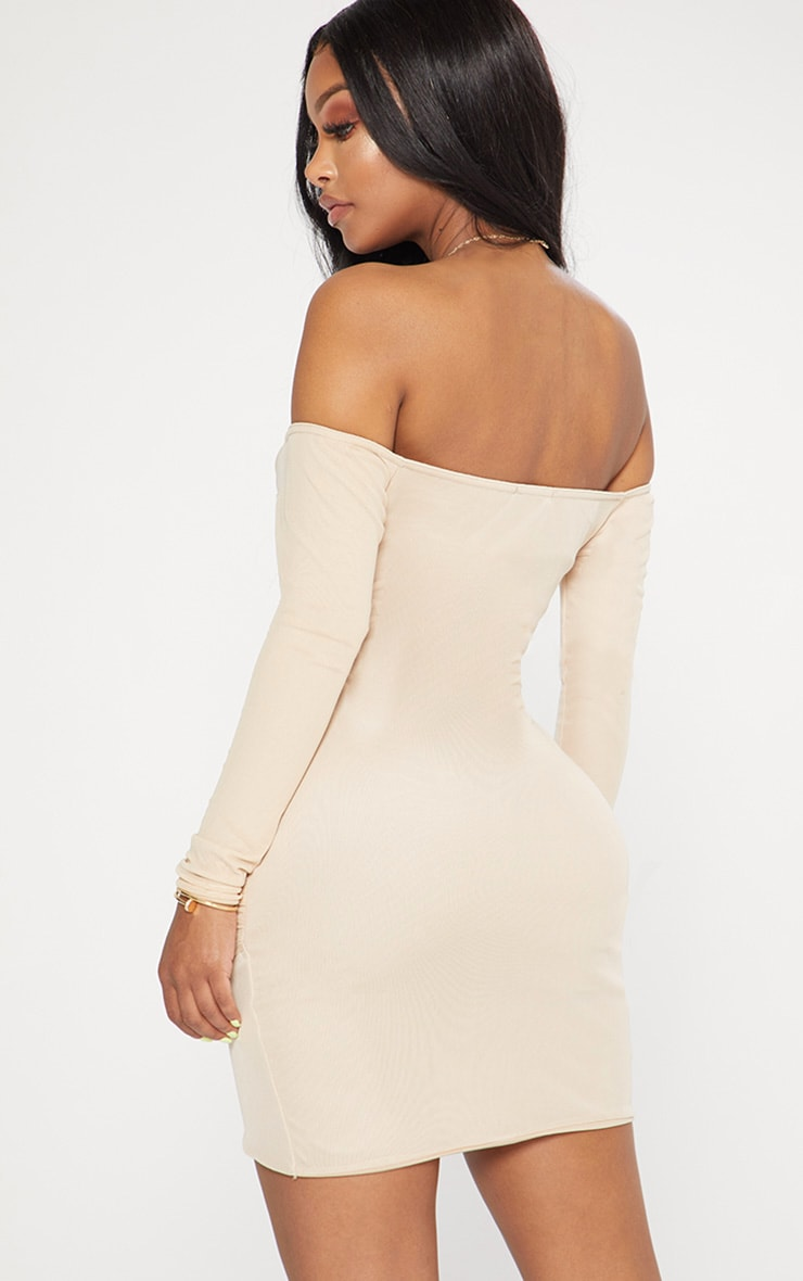 Shape Nude Mesh Ruched Bardot Bodycon Dress 2