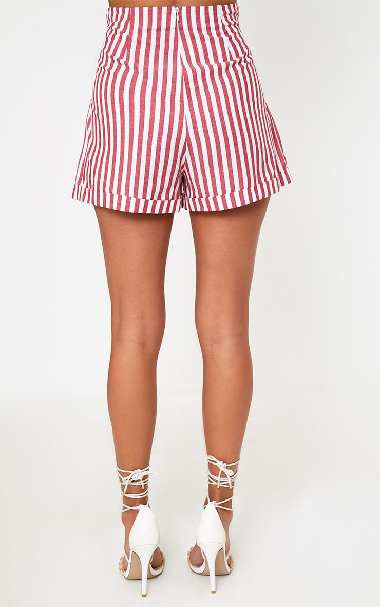 Red Tie Waist Stripe Shorts 4