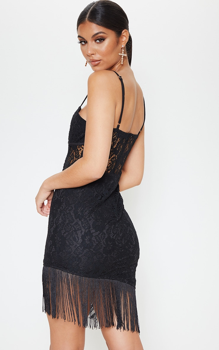 Black Lace Cup Detail Tassel Hem Bodycon Dress 2