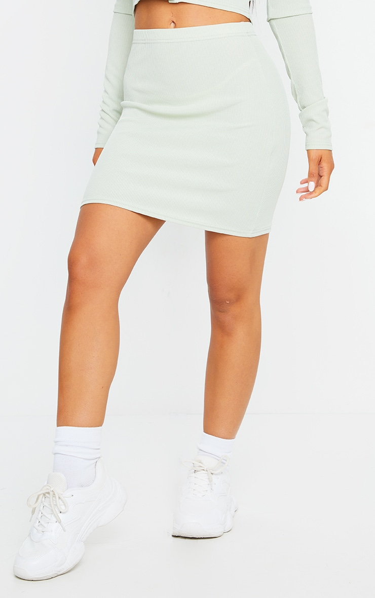 Sage Green Rib Popper Front Mini Skirt 2