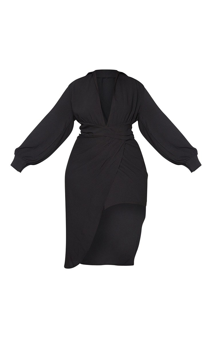 Plus Black Plunge Wrap Textured Dress 5