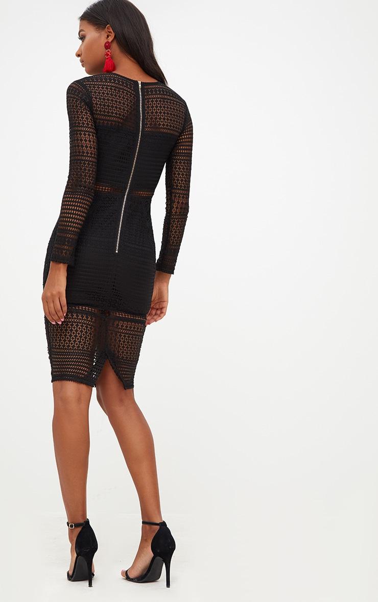 Black Lace Long Sleeve Midi Dress 2
