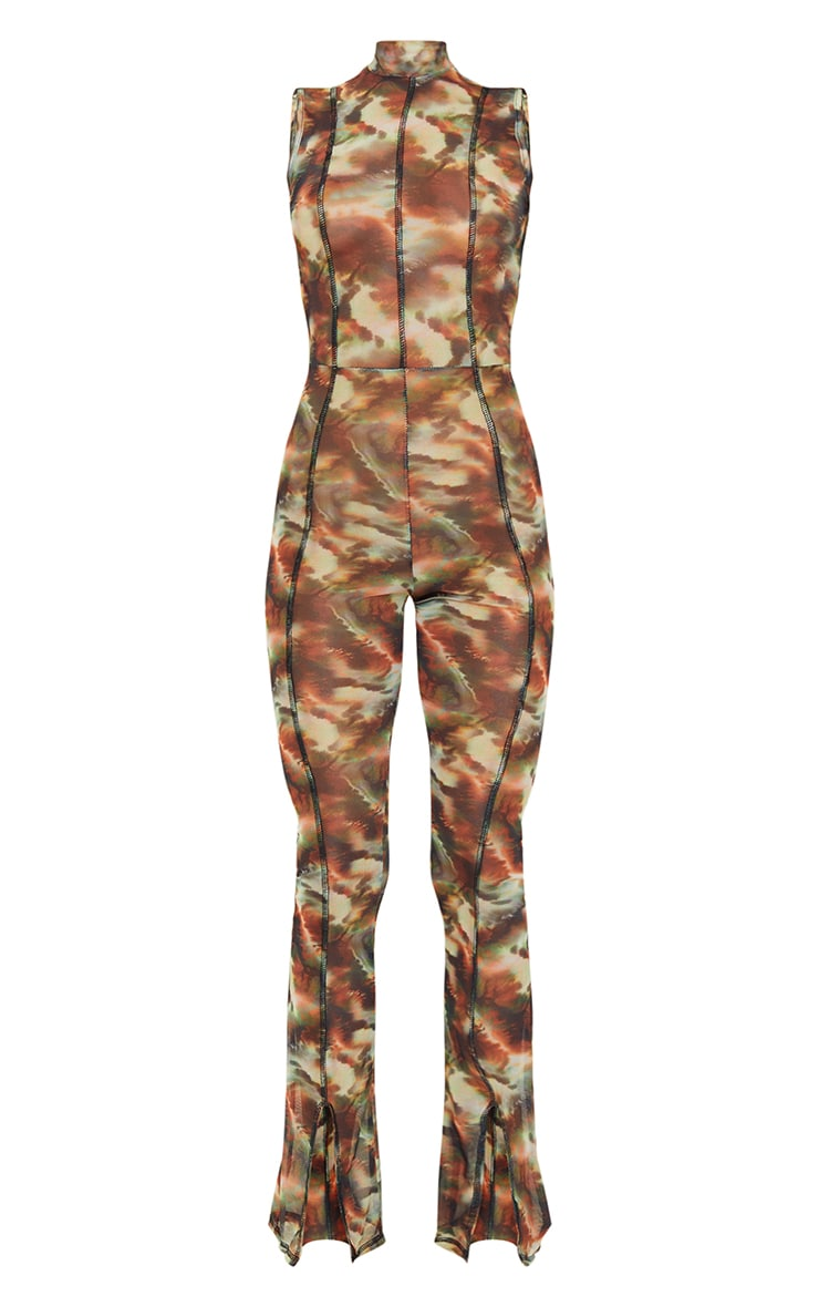 Green Marble Print Contrast Stitch High Neck Mesh Jumpsuit 5