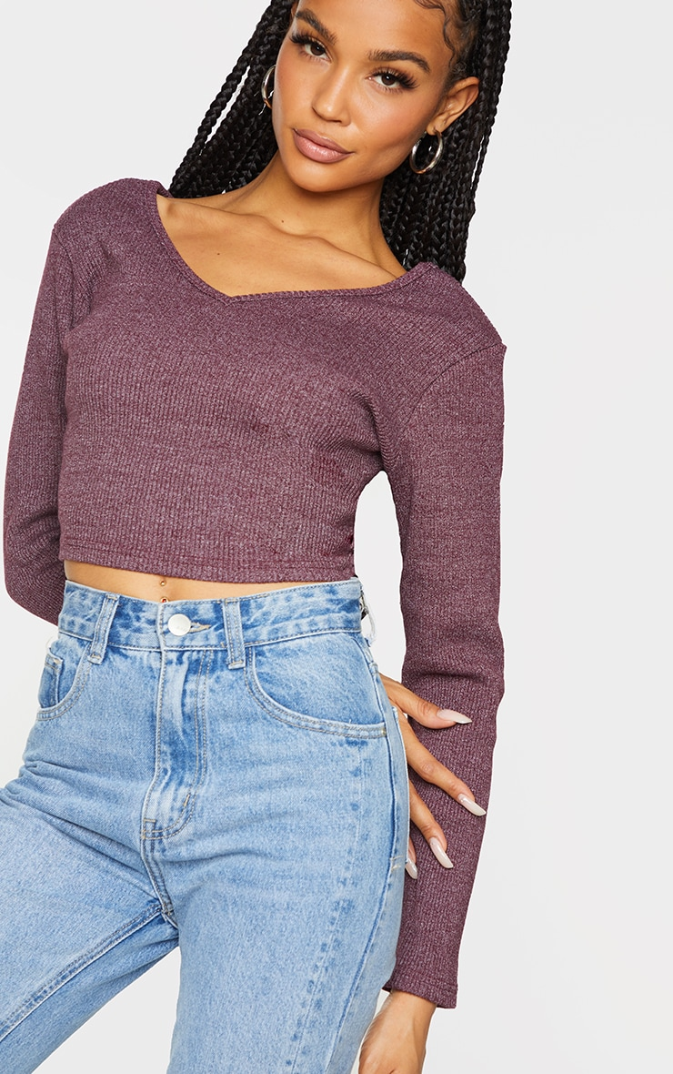 Burgundy Marl Rib Long Sleeve Crop Top 4