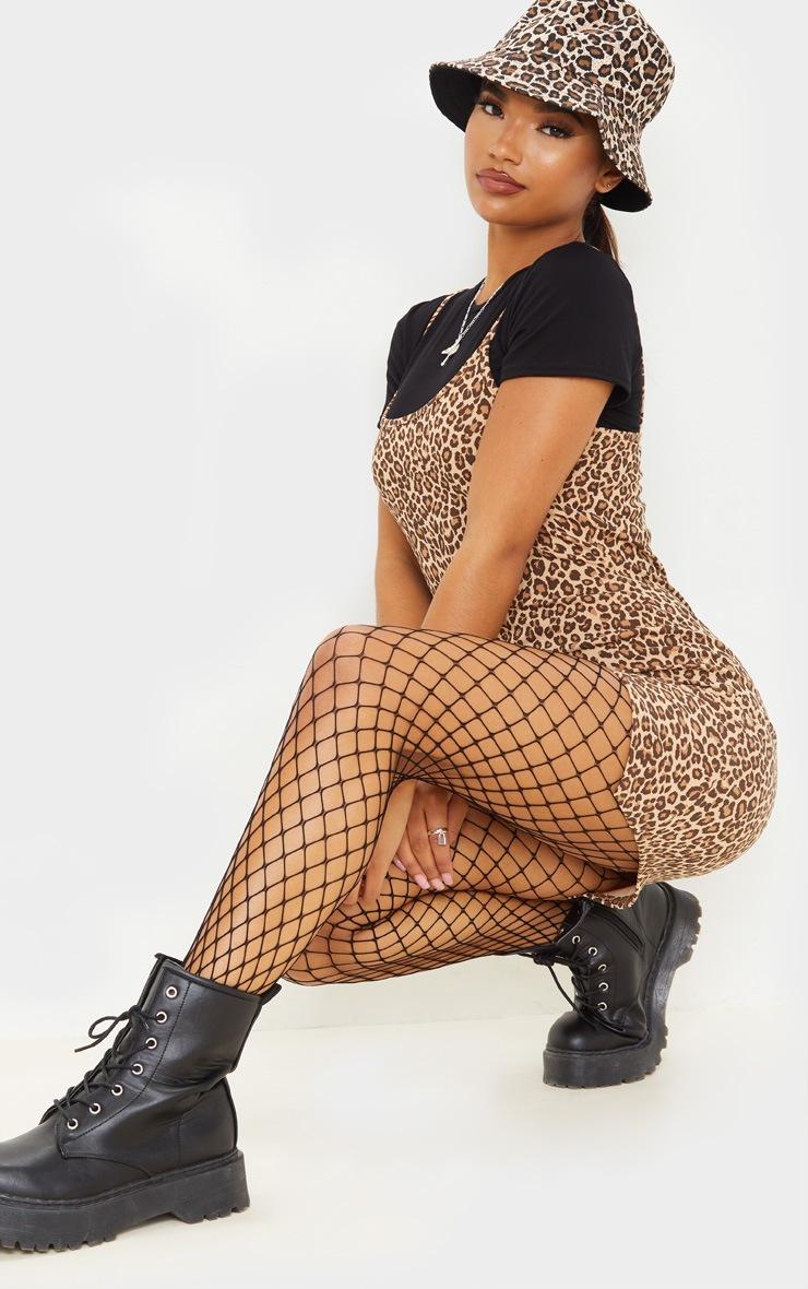 Brown Leopard Print 2 In 1 Strappy Split Front Shift Dress 4