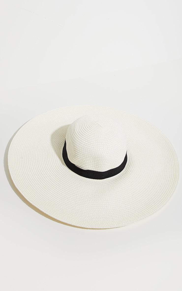 Nude Straw Wide Brim Floppy Hat 4