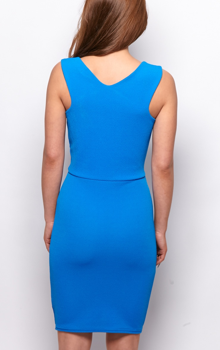 Allina Blue V Detail Bodycon Dress 2