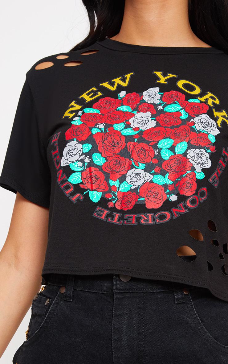 Black New York Slogan Ripped Crop T Shirt 4