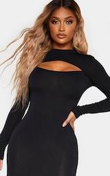 Shape Black Jersey Cut Out Long Sleeve Midi Dress 5