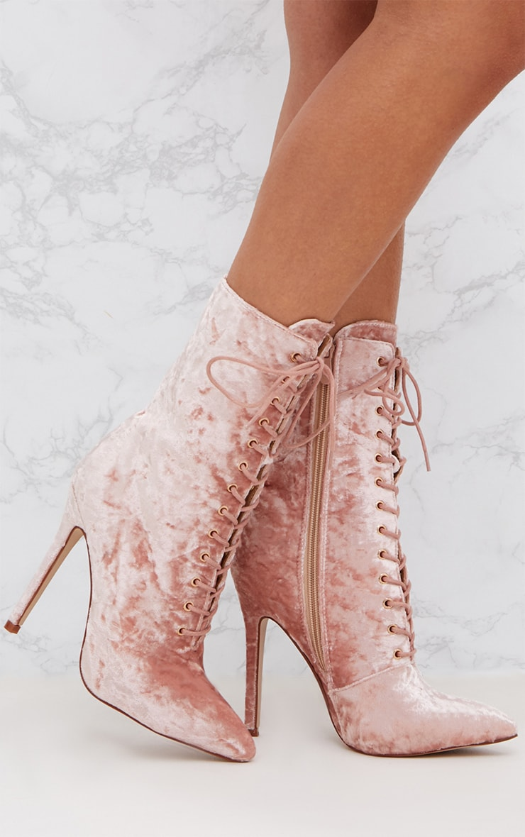 Pink Crushed Velvet Lace Up Heeled Boots 1