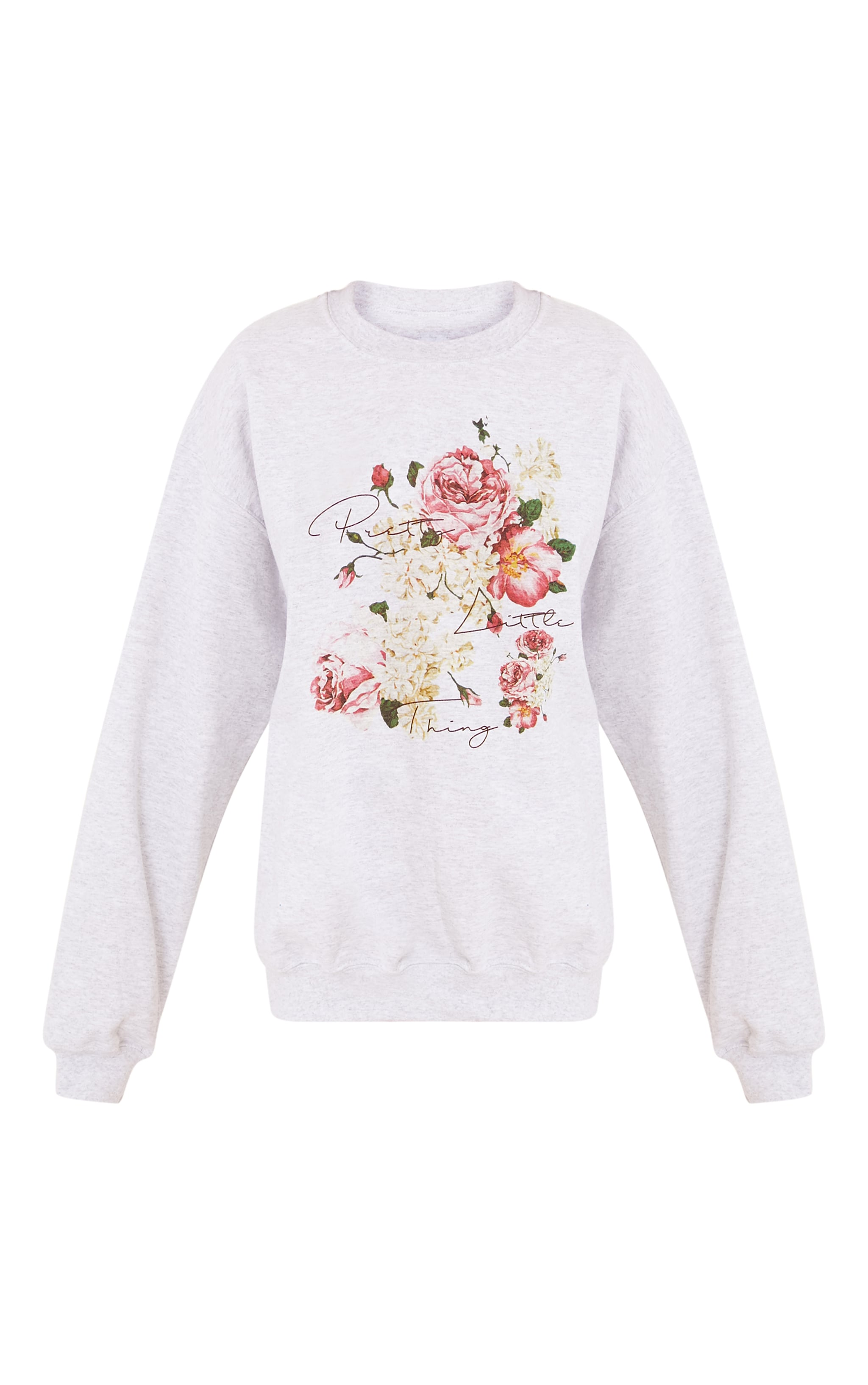 PrettyLitteThing Grey Floral Print Sweater 3