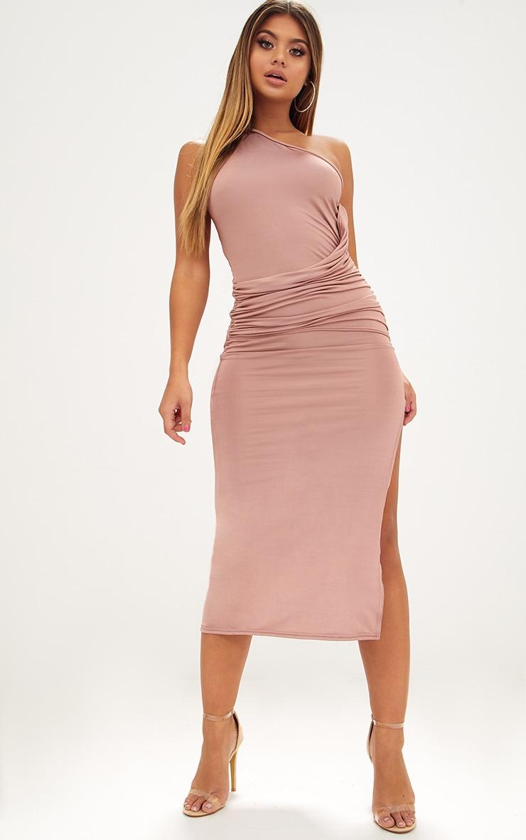 Dark Nude One Shoulder Ruched Detail Slinky Midi Dress 1