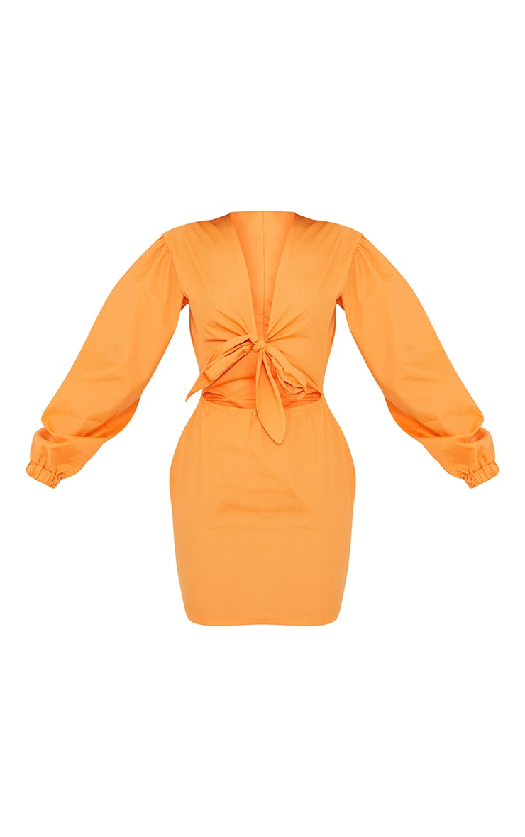 Tangerine Bow Tie Front Cut Out Bodycon Dress 5