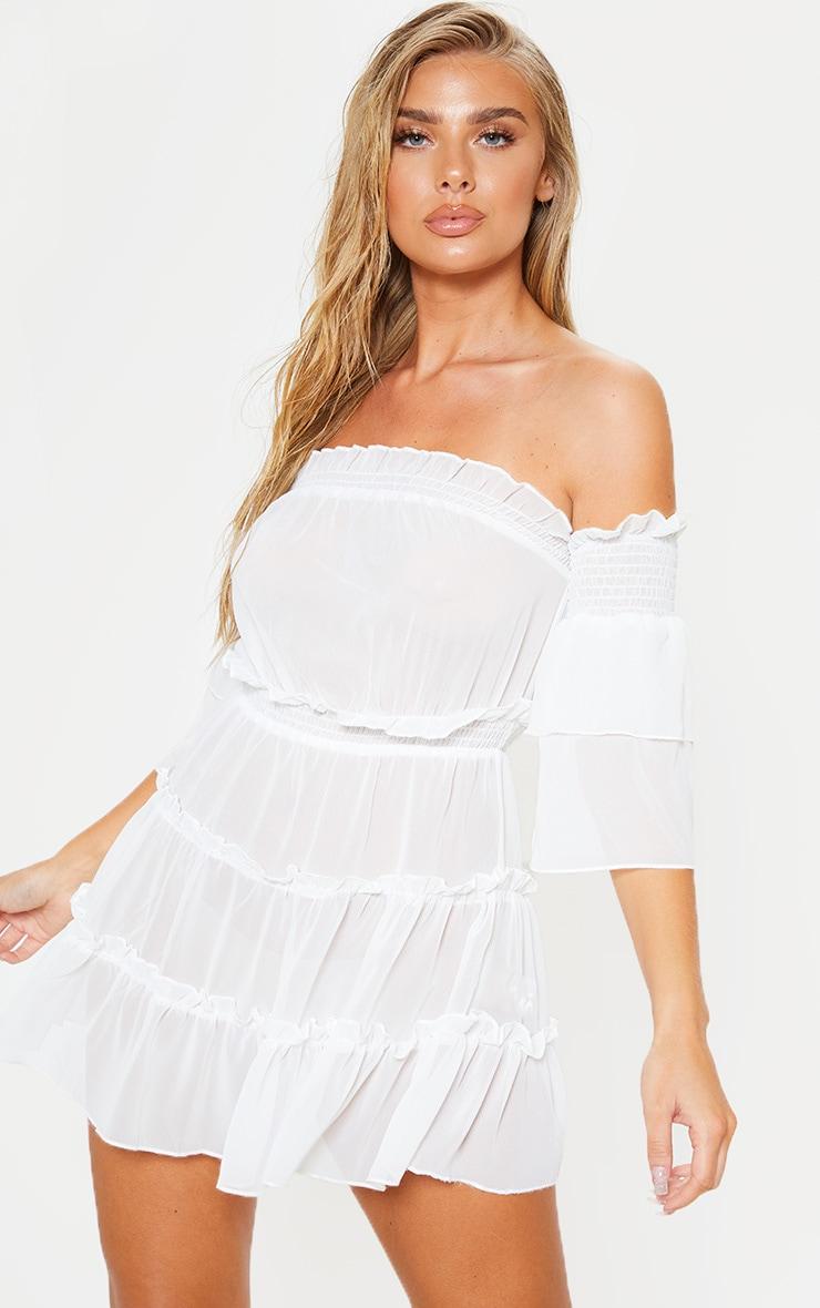 فستان شاطئ بكتف ساقط أبيض مع طيات 1