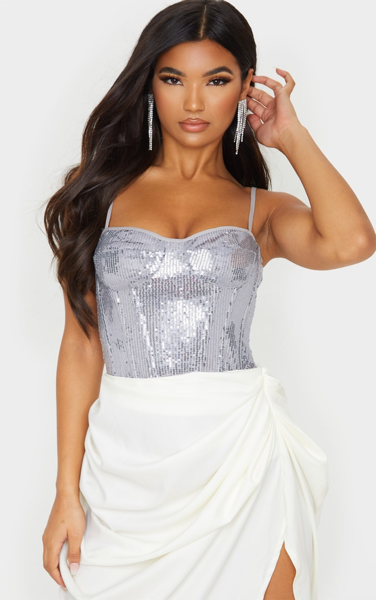 Silver Sequin Structured Corset Top 1