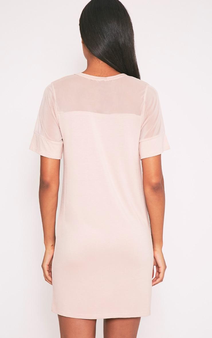 Narla robe t-shirt à empiècements en tulle chair 2
