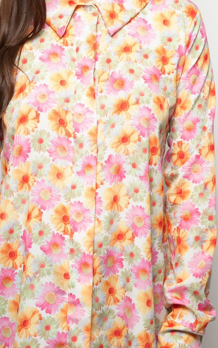 Lyla Orange Daisy Print Chiffon Shirt Dress  4