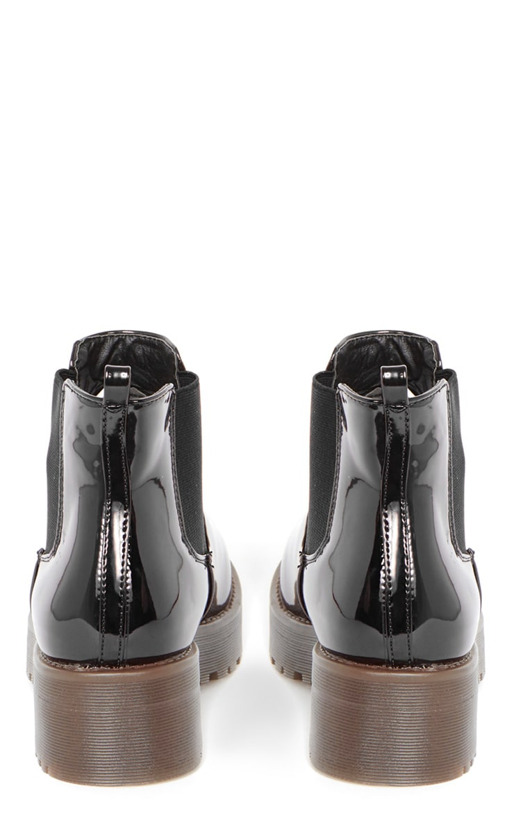 Sabine Black Patent Cleated Sole Chelsea Boot  2