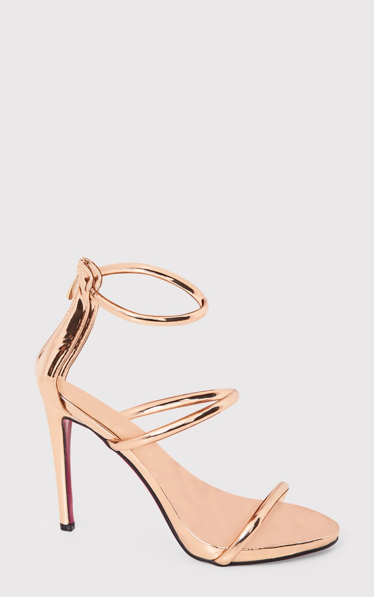 Marthea Rose Gold Tube Strap Heeled Sandals 4