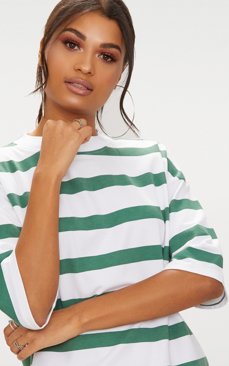 Emerald Green Striped Oversized Boyfriend T Shirt Dress 5