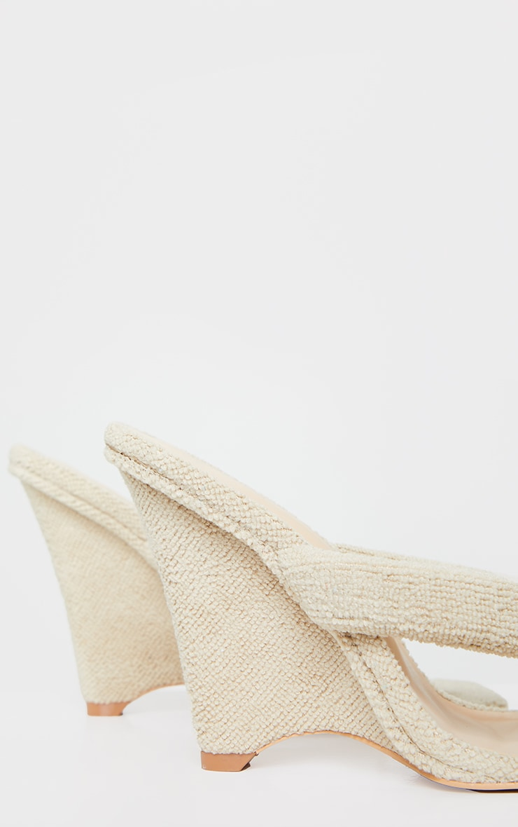 Sand Towelling Wedge Toe Thong Heels 4