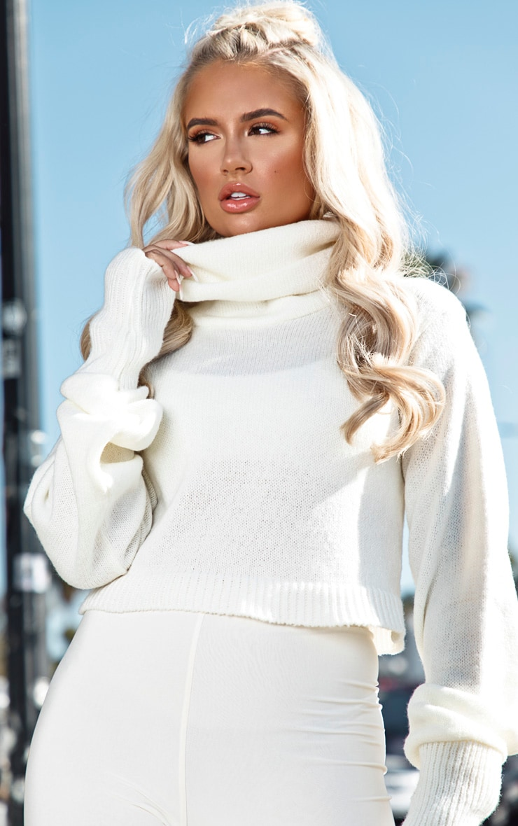 Cream Roll Neck Cropped Jumper 1