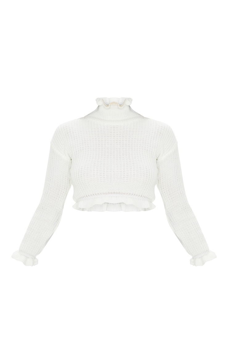 Ivory Knit High Neck Ruffle Trim Crop Sweater 3