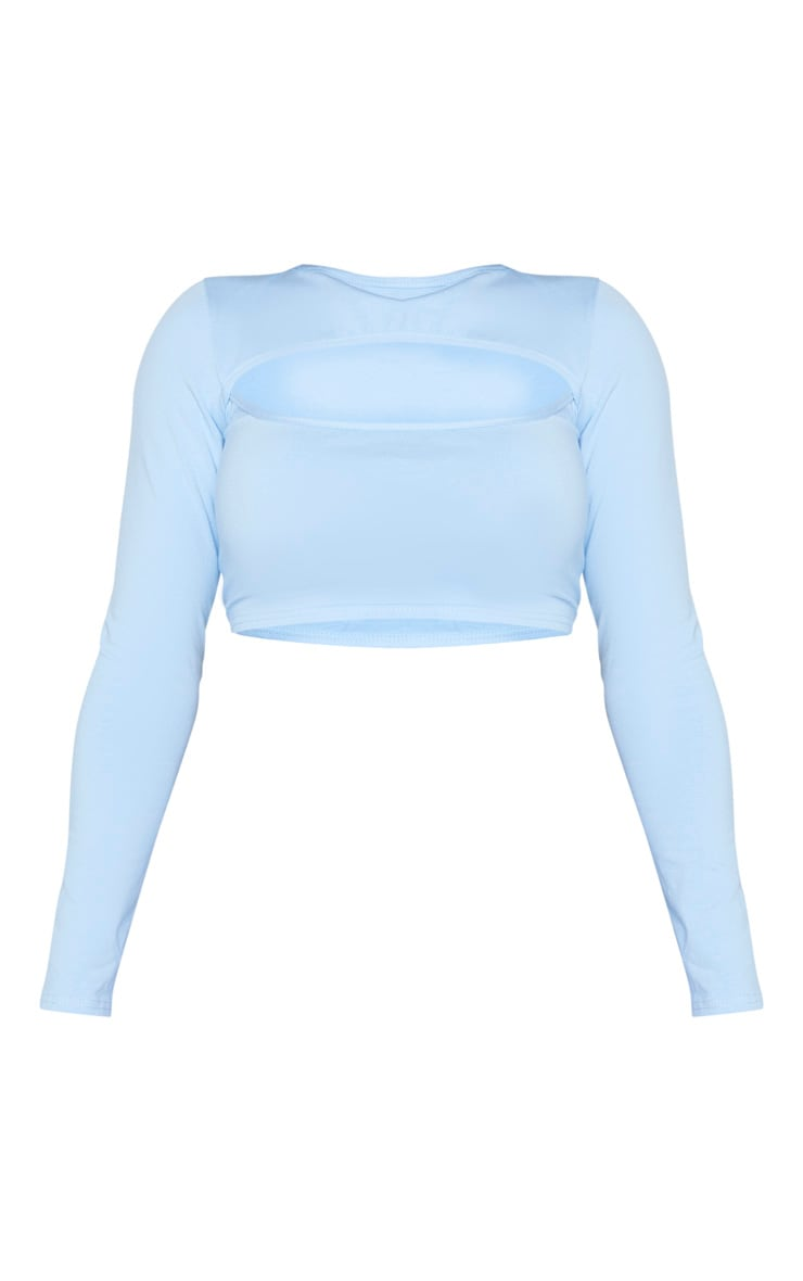 Shape Dusty Blue Cotton Cut Out Long Sleeve Crop Top 5