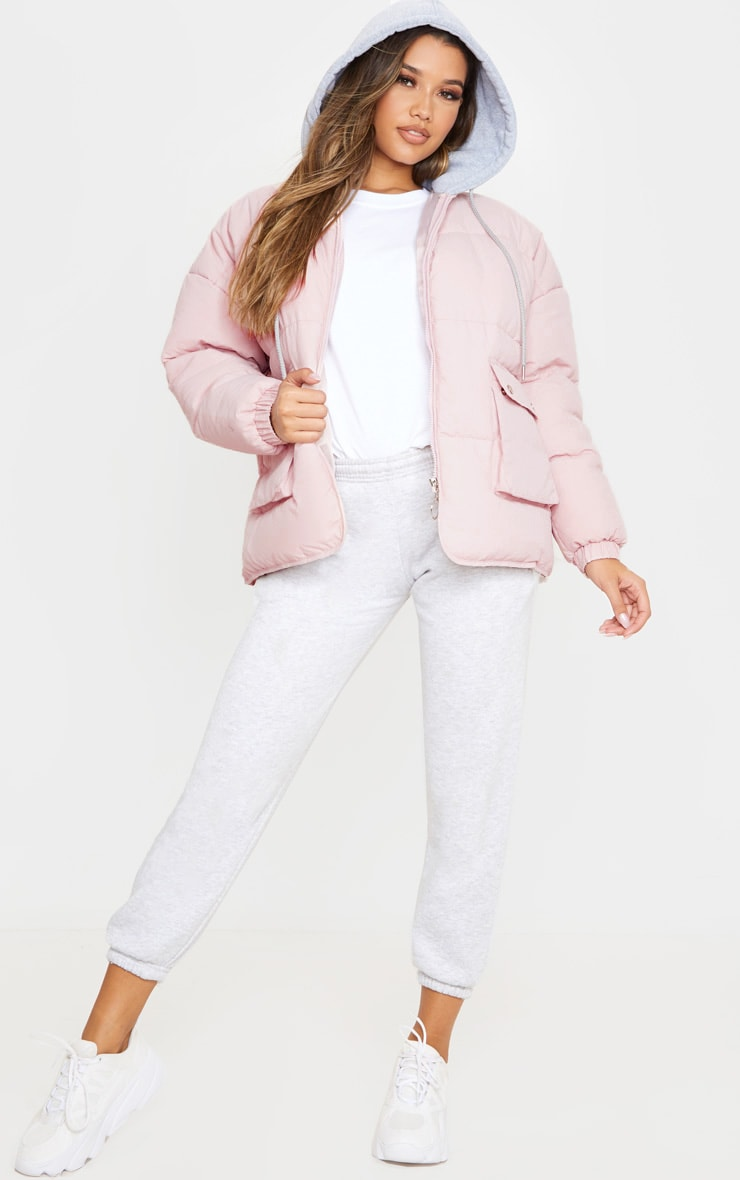 Pale Pink Peach Skin Oversized Hooded Puffer 4