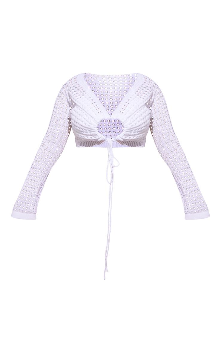Plus White Tie Front Crochet Crop Top 5
