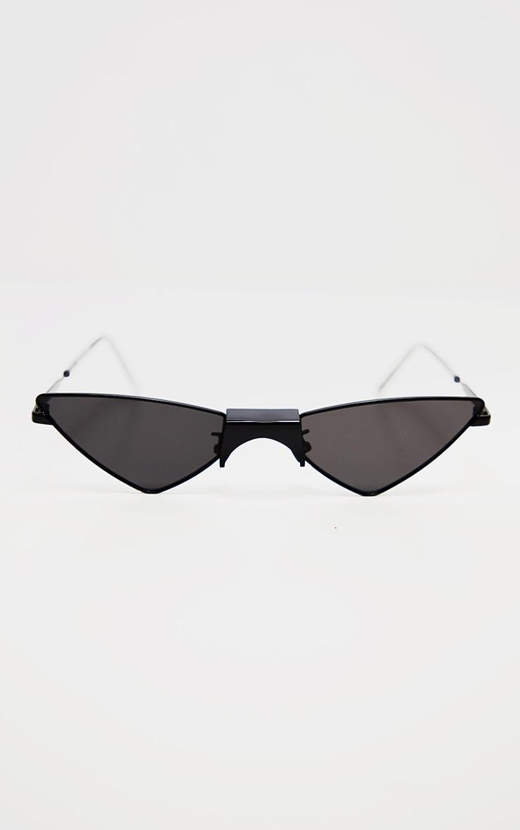 Black Tinted Angled Almond Shaped Sunglasses 2