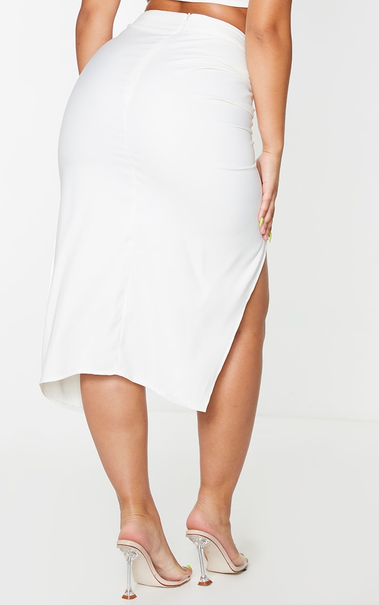 Cream Woven Ruched Detail Midi Skirt 3