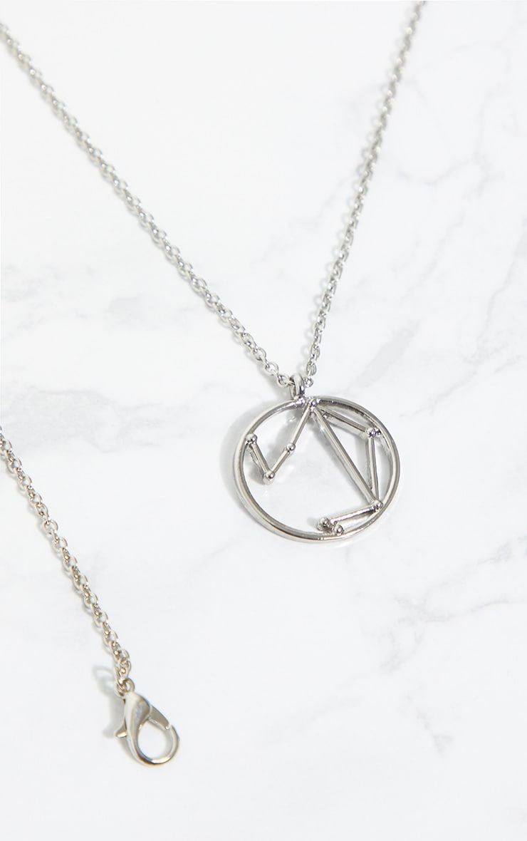 Silver Zodiac Libra Star Constellation Necklace 4