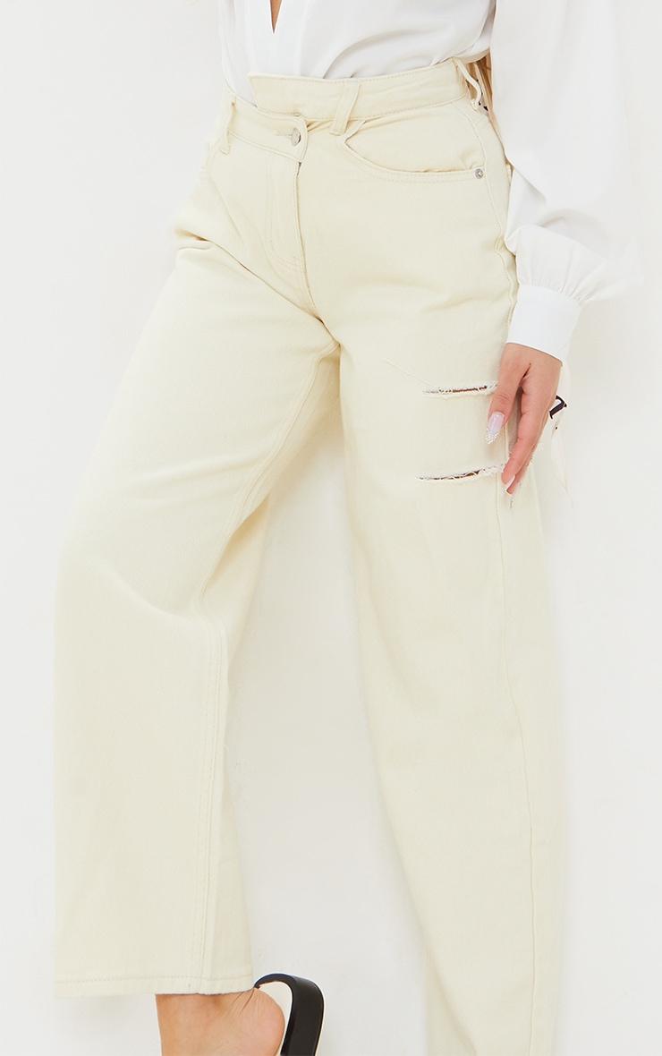 Petite Ecru Baggy Low Rise Asymmetric Waistband Thigh Split Boyfriend Jeans 4