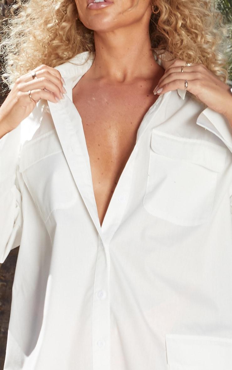 Petite White Pocket Detail Long Sleeve Shirt Dress 6