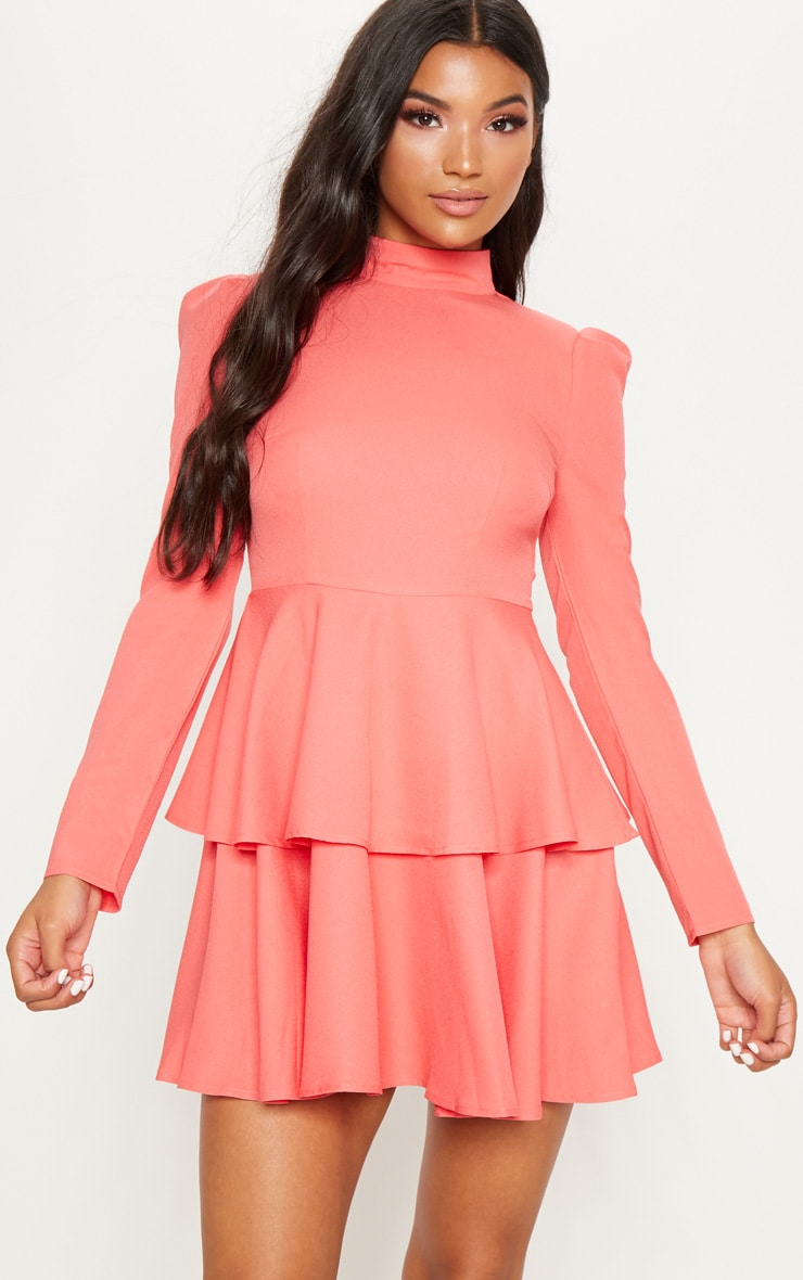 Coral High Neck Tiered Skater Dress 1