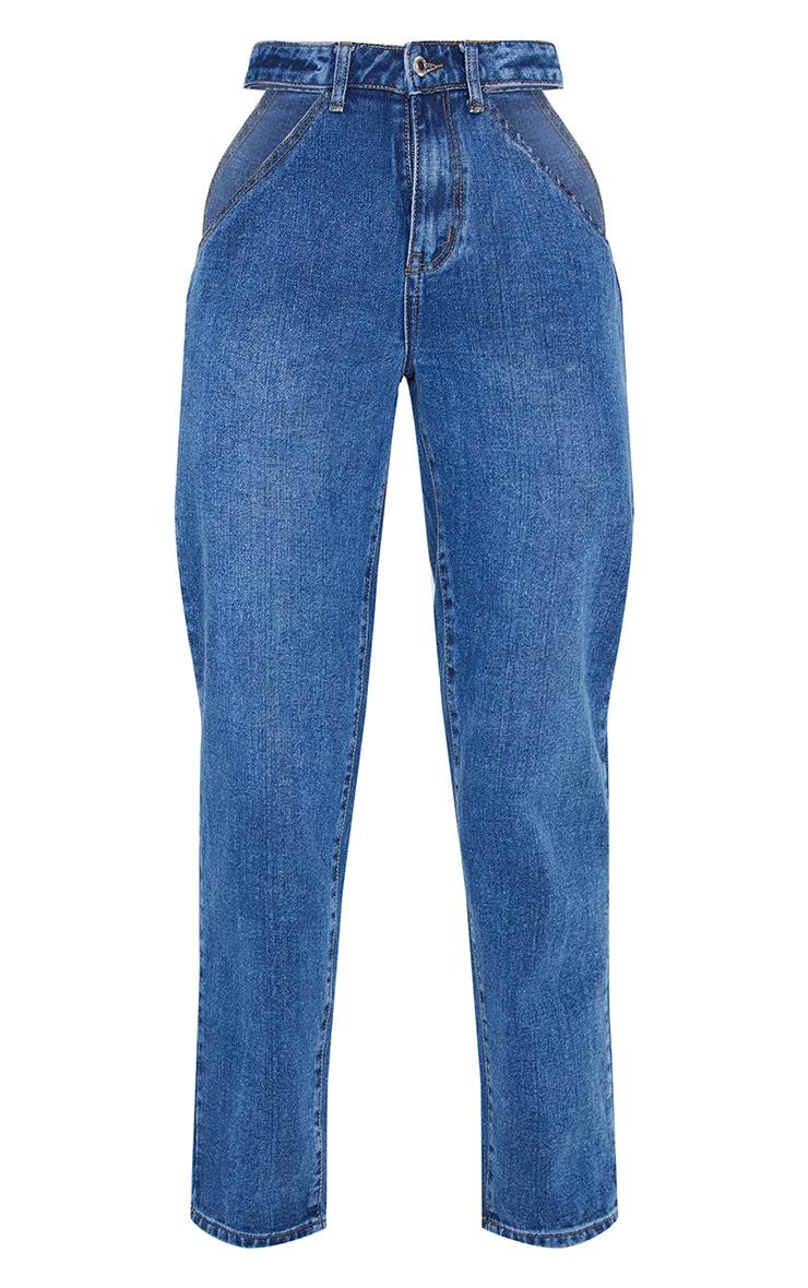 Mid Blue Wash Cut Out Waist Band 90'S Baggy Boyfriend Jeans 4