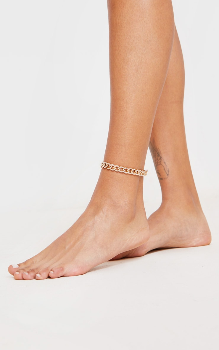 Gold Diamante Link Chain Anklet 1